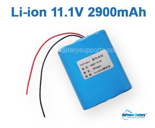 10.8V 11.1V 3* 18650 2900mAh 3S Lithium ion Li-ion Battery Pack