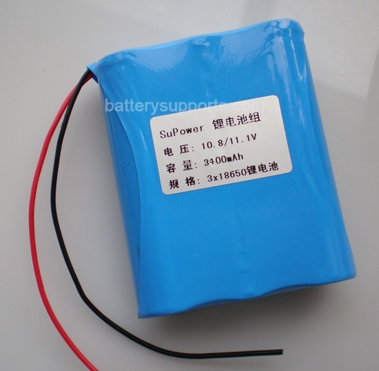 10.8V 11.1V 3* 18650 3400mAh 3S Lithium ion Li-ion Battery Pack