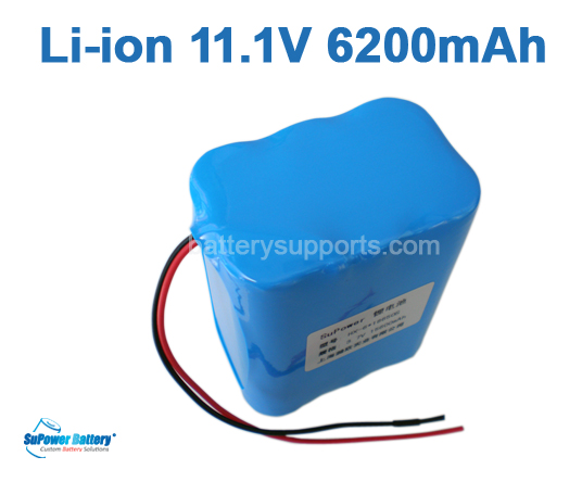 10.8V 11.1V 6*18650 6200mAh 3S2P Lithium ion Li-ion Battery Pack