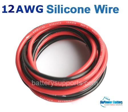 12AWG Flexible Silicone Wire 1m Red +1m Black Heatproof 200°C