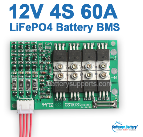 12V 14.6V 4S 60A LiFePo4 Battery BMS LFP PCM SMT System
