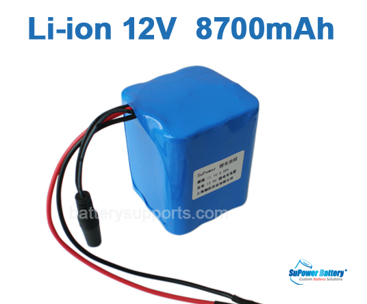 10.8V 11.1V 12V 9*18650 8700mAh 3S3P Lithium ion Battery Pack