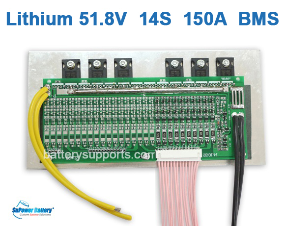 50.V 51.8V 58V 14S 150A 14x3.6V Lithium LiPolymer Battery BMS