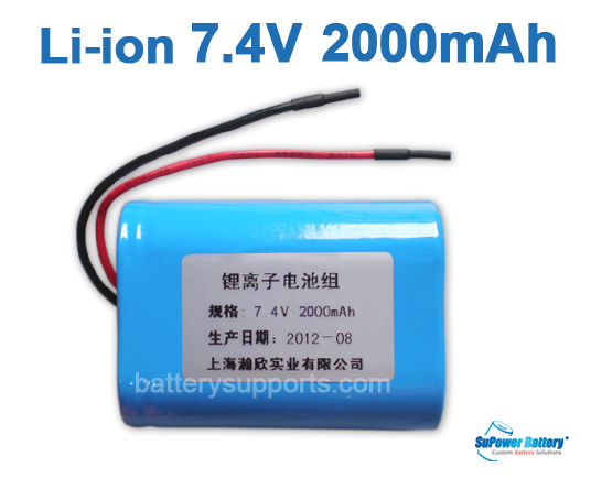 7.4V 7.2V 2* 18500 2000mAh 2S Lithium ion Li-ion Battery Pack