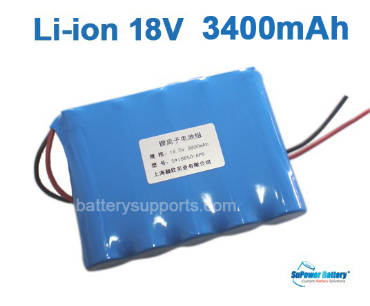 18V 21V 5*18650 3400mAh 5S Lithium ion Li-ion Battery Pack