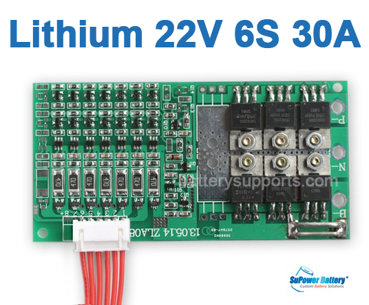 22V 24V 6S 30A 6x 3.6V Lithium ion LiPo Battery BMS PCM PCB