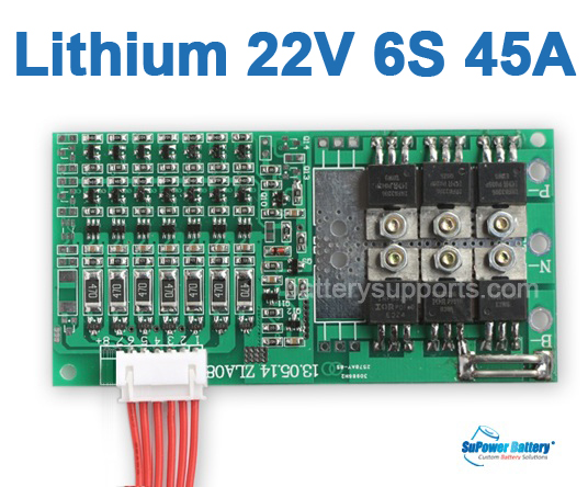 22V 24V 6S 45A 6x 3.6V Lithium ion LiPo Battery BMS PCM PCB