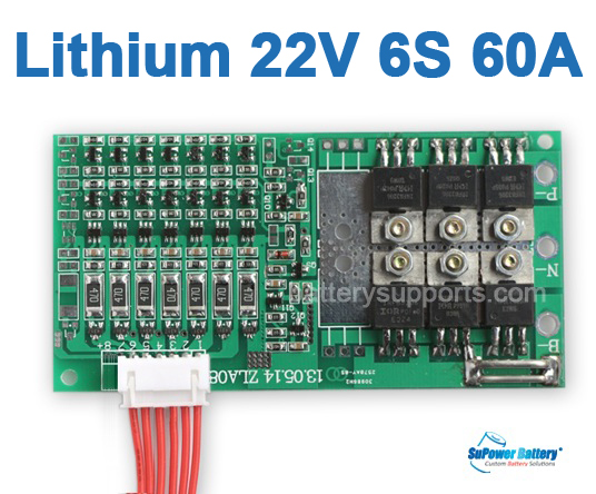22V 24V 6S 60A 6x 3.6V Lithium ion LiPo Battery BMS PCM PCB