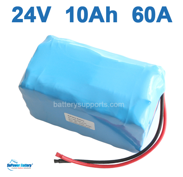24V 10Ah 60A 1000W EV E-Bike Lithium Ion Battery embeded BMS