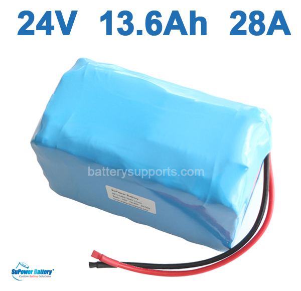 24V 13.6Ah 28A 600W EV E-Bike Lithium Ion Battery embeded BMS