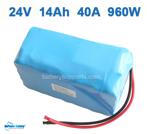 24V 14Ah 40A 960W EV E-Bike Lithium Ion Battery embeded BMS