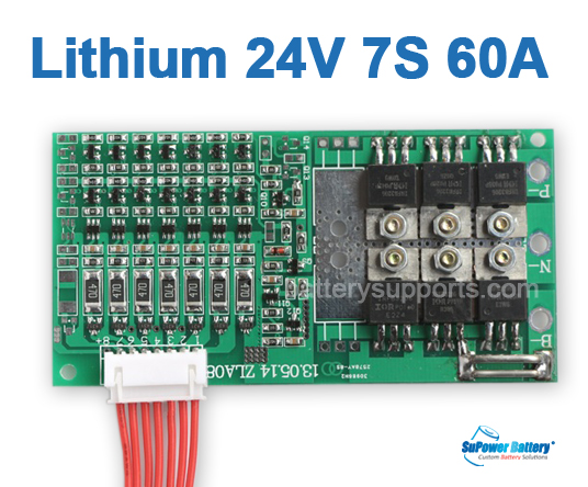 24V 25.2V 7S 60A 7x 3.6V Lithium ion LiPo Battery BMS PCM PCB