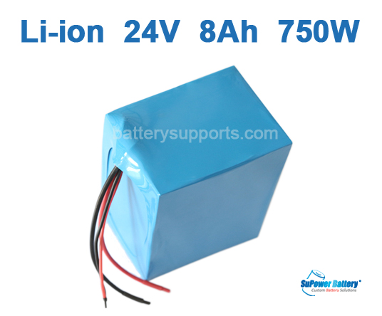 24V 8Ah 500W - 750W EV E-Bike Lithium Ion Battery Pack with BMS