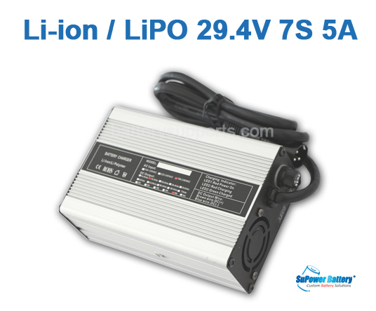 24V 29.4A 5A Lithium ion Battery Charger 7S 7x 3.6V Lion LiPO