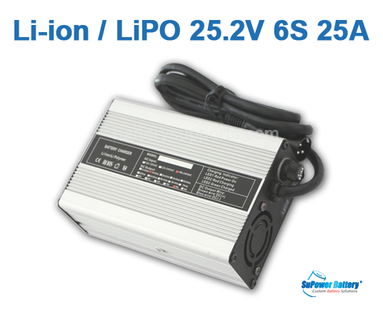 22V 25.2A 25A Lithium ion Battery Charger 6S 6x 3.6V Lion LiPO
