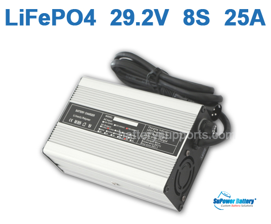 24V 29.2V 25A LiFePo4 Battery Charger 8S 8x 3.2V LiFe Charger