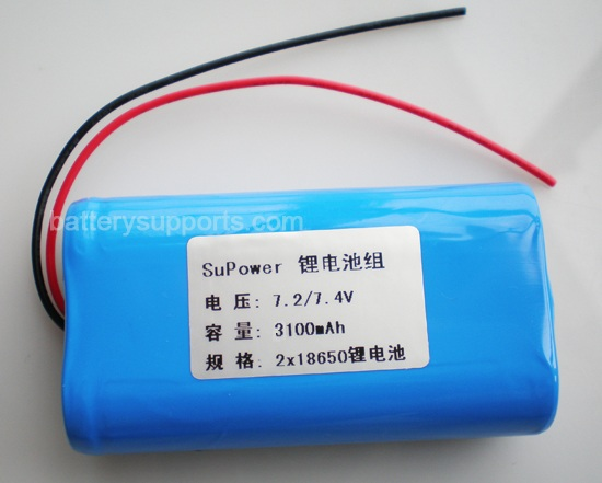 7.2V 7.4V 2* 18650 3100mAh 2S Lithium ion Li-ion Battery Pack