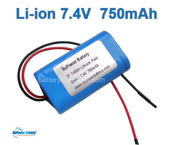7.4V 7.2V AA 2* 14500 750mAh 2S Lithium ion Li-ion Battery Pack