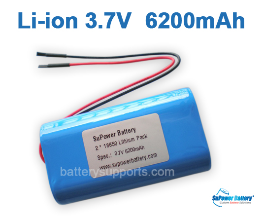 3.6V 3.7V 2* 18650 6200mAh 2P Lithium ion Li-ion Battery Pack