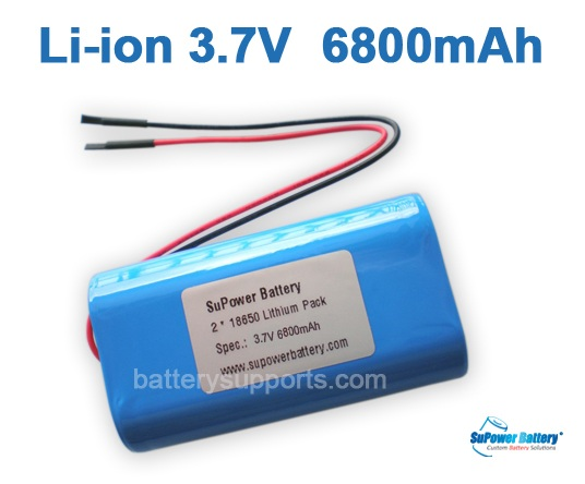 3.6V 3.7V 2* 18650 6800mAh 2P Lithium ion Li-ion Battery Pack