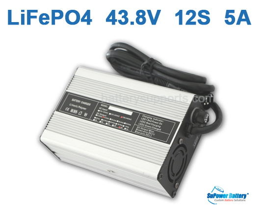 36V 43.8V 5A LiFePo4 Battery Charger 12S 12x 3.2V LiFe Charger