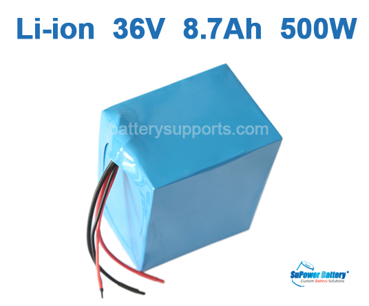36V 8.7Ah 500W EV E-Bike Lithium Ion Battery Pack w/ BMS