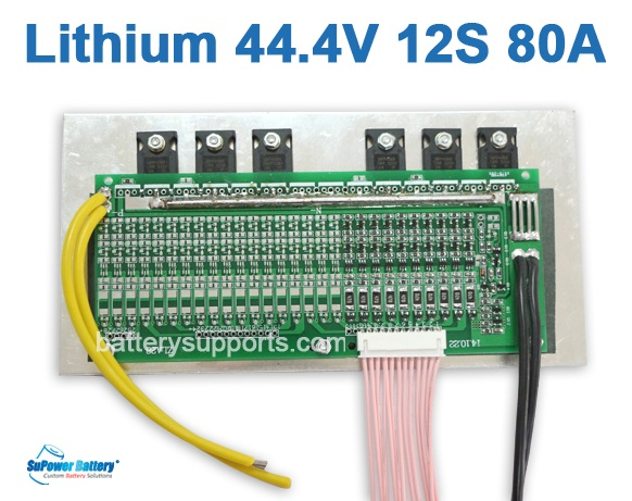 44V 48V 50.4V 12S 80A 12x 3.6V Lithium ion LiPolymer Battery BMS