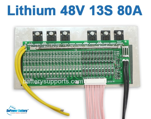 48V 54.6V 13S 80A 13x 3.6V Lithium ion LiPolymer Battery BMS PCB