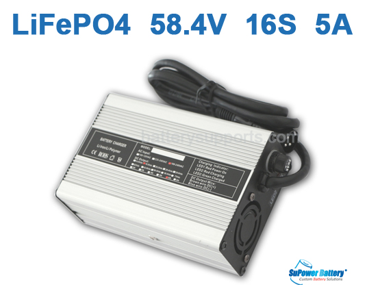 48V 58.4V 5A LiFePo4 Battery Charger 16S 16x 3.2V LiFe Charger