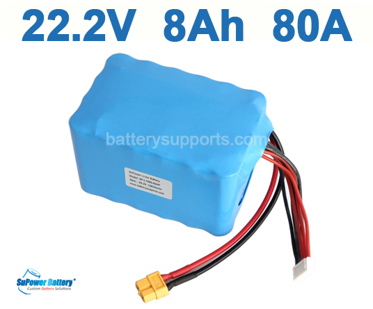 Quad 22.2V 24V 8Ah 80A Lithium Ion Drone High Drain Battery Pack
