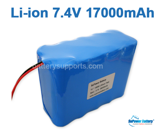 7.2V 7.4V 10* 18650 17Ah 2S5P Lithium ion Li-ion Battery Pack
