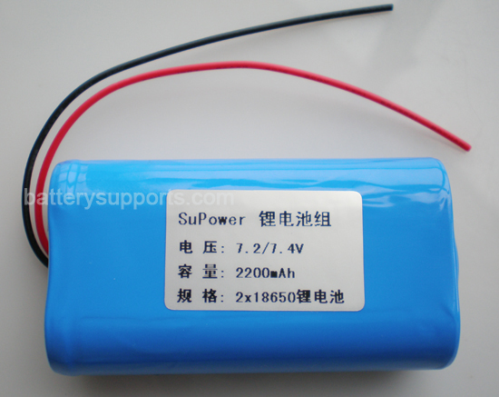 7.2V 7.4V 2* 18650 2200mAh 2S Lithium ion Li-ion Battery Pack