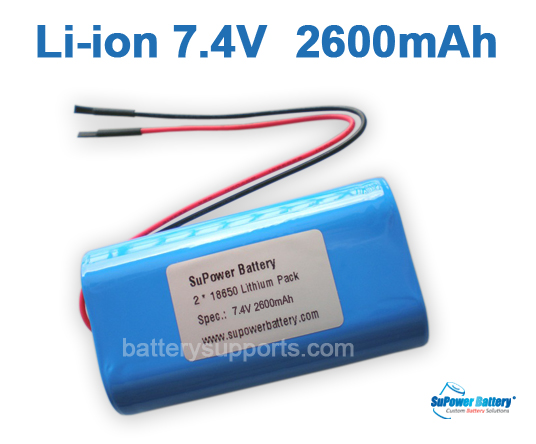 7.2V 7.4V 2* 18650 2600mAh 2S Lithium ion Li-ion Battery Pack