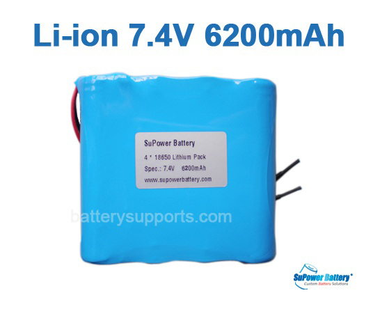 7.2V 7.4V 4* 18650 6200mAh 2S2P Lithium ion Li-ion Battery Pack