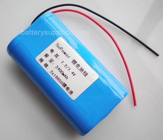 7.2V 7.4V 2* 18650 3400mAh 2S Lithium ion Li-ion Battery Pack