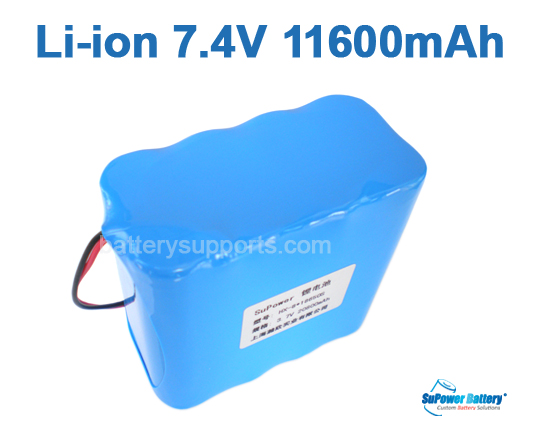 7.2V 7.4V 8* 18650 11600mAh 2S4P Lithium ion Li-ion Battery Pack