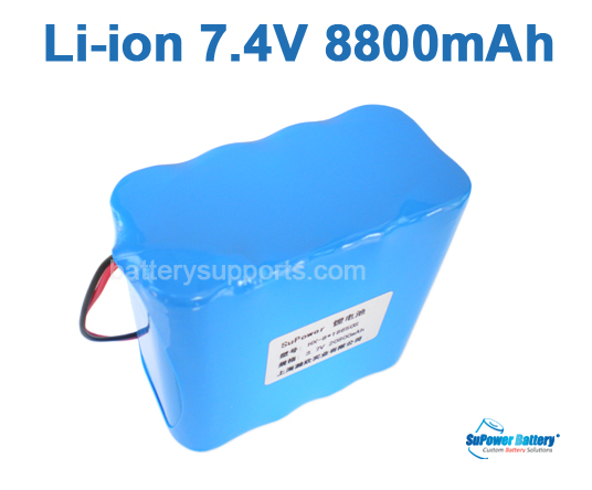 7.2V 7.4V 8* 18650 8800mAh 2S4P Lithium ion Li-ion Battery Pack