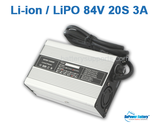 72V 74V 84V 3A Lithium ion LiPO Battery Charger 20S 20x 3.6V