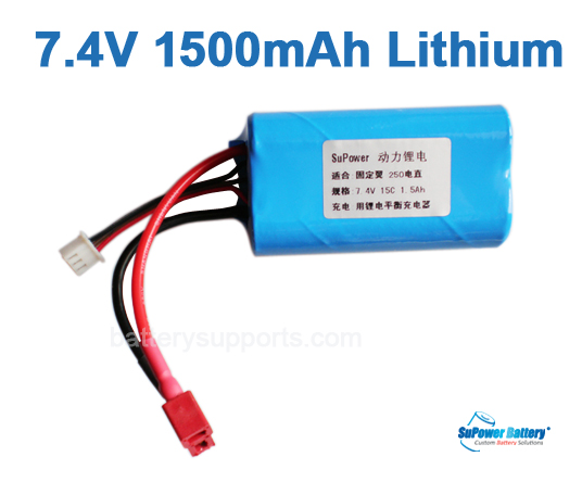 Fixed-wing R/C Helicopter Battery 7.4V 1500mAh Lithium ion