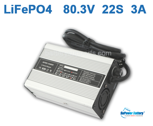 66V 80.3V 3A LiFePo4 Battery Charger 22S 22x 3.2V LiFe Charger