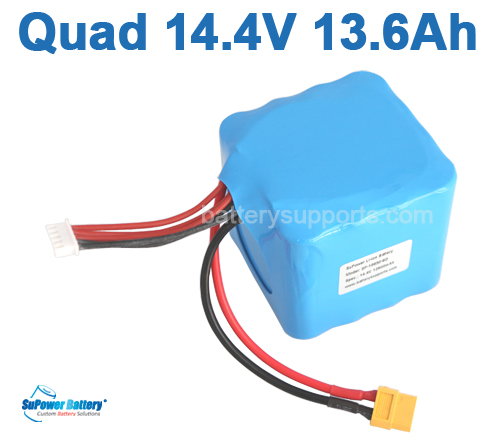 Quad 14.4V 14.8V 16*18650 13600mAh 4S4P Max. 40A Battery Pack