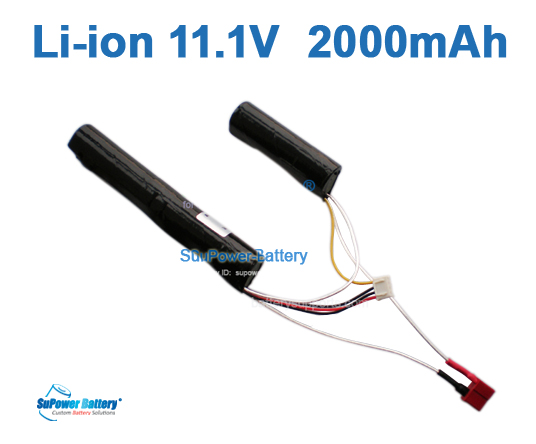 Airsoft Gun 11.1V 2000mAh Lithium ion Battery Pack - T plug 2+1